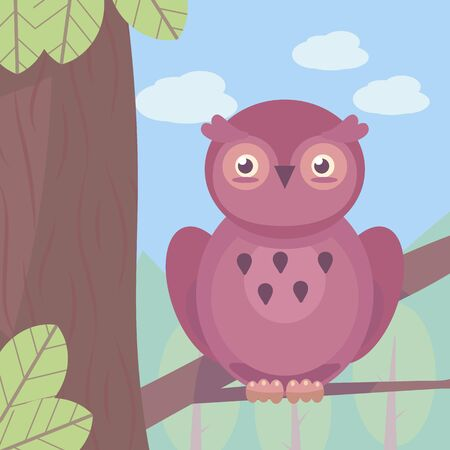 A burgundy cartoon owl sits on a brown tree branch with green leaves against a light blue sky with clouds and forest. Square illustration. Imagens - 143245171