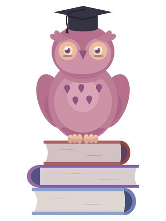 Wise cute dark pink vector owl sitting on three multi-colored books in a university hat isolated object on a white background.
