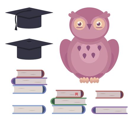 Set of colorful vector elements in the form of cartoon pink owls, books and university caps objects isolated on white background. Ilustração