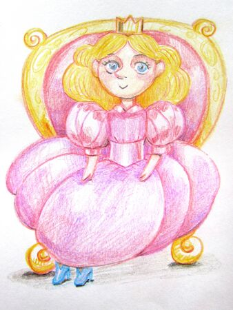 A simple sweet princess in a pink dress, with a crown and crystal shoes, sits on a red throne with gilded drawing with colored pencils. Imagens - 143247102