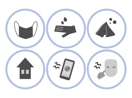 Set of vector round simple icons with warning signs of the spread of the virus objects on white background. Ilustração