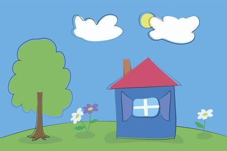 Children's sloppy drawing vector landscape illustration with a black stroke cartoon tree, green meadow, house and flowers on a background of blue sky with white clouds.