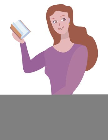 Redhead vector cartoon positive cute smiling girl in a purple sweater and blue skirt holds in her hand an orange book isolated object on a white background. Imagens - 143795588