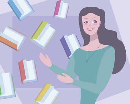 Cute vector girl with dark hair points to flying colorful books illustration. Imagens - 143795593