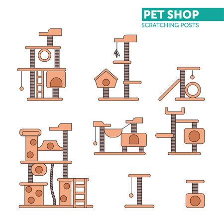 Pets shop icons vector. Color scratching rope post set. Cat square house with hanging ball toy. Flat design.