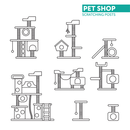 Pets shop icons vector. Scratching rope post set. Cat square house with hanging ball toy. Flat design.