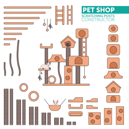 Pets shop icons vector. Color constructor scratching rope post set. Cat square house with hanging ball toy. Flat design.