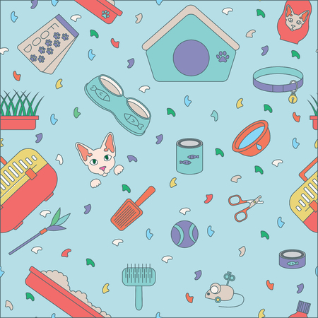Vector color pattern icon set. Pet shop scissors for claws, litter scoop, litter box, pet kennel, shampoo, oats, nail caps, food for cat