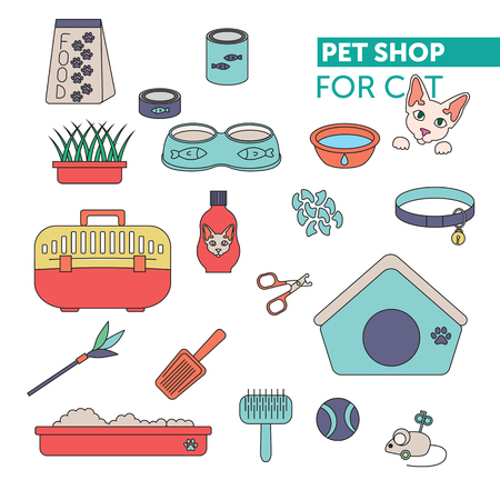Vector line color icon set. Pet shop scissors for claws, litter scoop, litter box, pet kennel, shampoo, oats, nail caps, food for cat