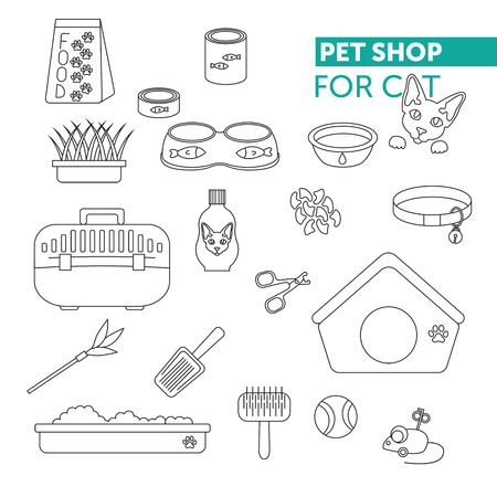shop for animals: Vector line icon set. Pet shop scissors for claws, litter scoop, litter box, pet kennel, shampoo, oats, nail caps, food for cat