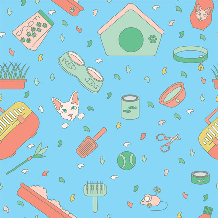 Vector pattern icon set. Pet shop scissors for claws, litter scoop, litter box, pet kennel, shampoo, oats, nail caps, food for cat