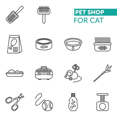 kennel: Vector thin line icons set pet shop fot cat. Scissors for claws, Litter Scoop, litter box, Pet Kennel, shampoo, oats, cups, food, toys Illustration