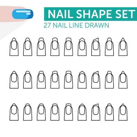 27 nail line drawn with french manicure various shapes 矢量图像