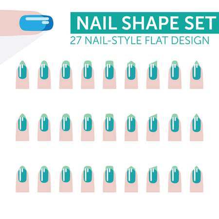 27 nail-style flat design with french manicure various shapes