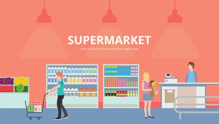 cash register building: Colorful flat vector banners. People shopping, supermarket shopping. Supermarket interior design.