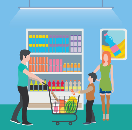 Family at the supermarket flat style illustration. Families with shopping carts in supermarket. People make purchases. 矢量图像