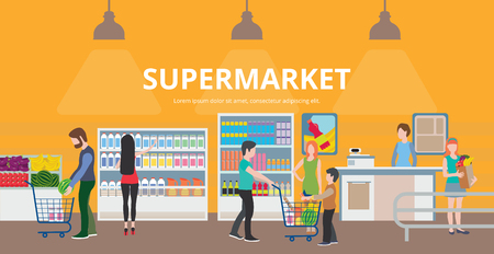 family shopping: People in supermarket interior design. Family shopping, marketing people, market shop interior, customer in mall, retail store flat vector illustration
