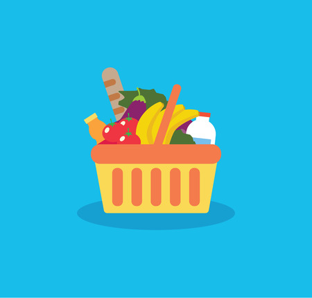 Shopping basket with fresh food and drink.Buy grocery in the supermarket. Vector flat design illustration on blue background