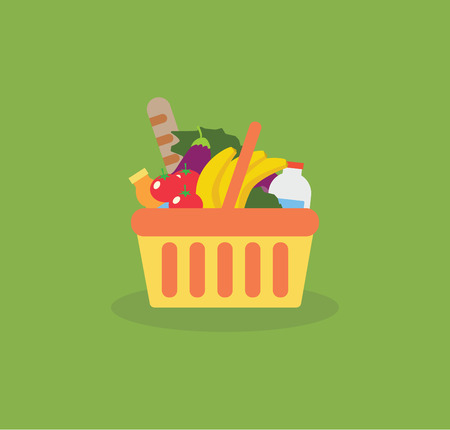 Shopping basket with fresh food and drink.Buy grocery in the supermarket. Vector flat design illustration on green background