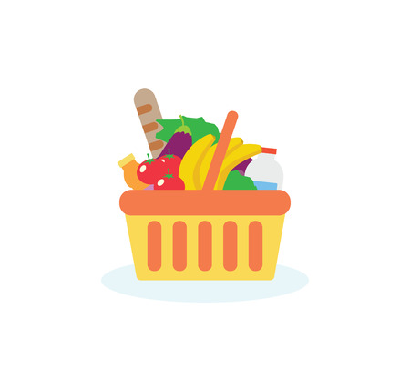 basket icon: Shopping basket with fresh food and drink.Buy grocery in the supermarket. Vector flat design illustration on white background