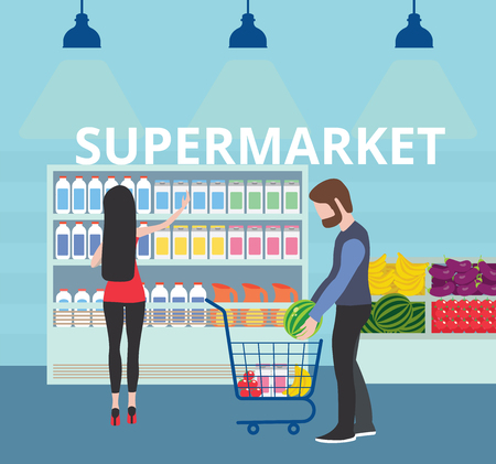 Couple shopping at supermarket and buying products. Customer in mall. Vector flat illustration Ilustração