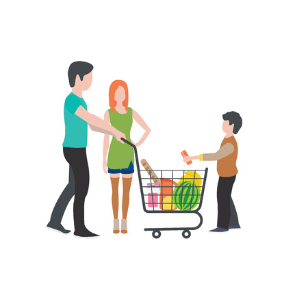 Family at the supermarket flat style illustration. Families with shopping carts in supermarket. People make purchases. isolate on white background