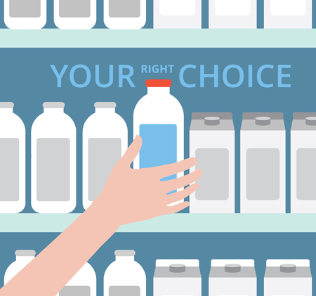 Supermarket. The idea for the advertising. Selecting products. Your right choice. A hand reaches for the bottle. Creative flat design illustration. Shopping at the grocery store.