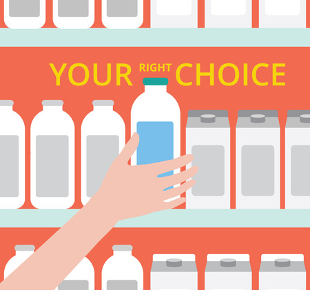 Your right choice. Supermarket. The idea for the advertising. Selecting products. A hand reaches for the bottle. Creative flat design illustration. Shopping at the grocery store. Illustration