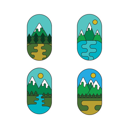 Set of outdoor adventure retro labels. Collection of landscape