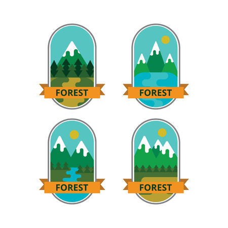 Set of badges, outdoor activities. Collection of emblems and symbols of travel and mountain.