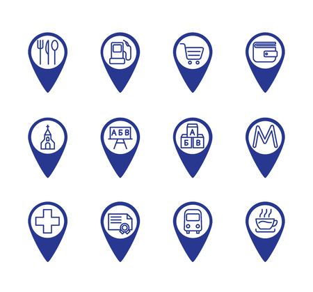 Map location markers, pointers simple icons set. Cafe, metro, bus stop, refill, grocery store, bank, church, school, Kindergarten, university, pharmacy Ilustração