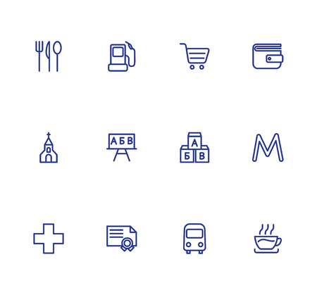 Map location markers, pointers simple icons set. Cafe, restaurant, metro, bus stop, refill, grocery store, bank, church, school, Kindergarten, university, pharmacy