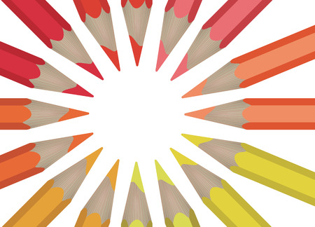 multicolored pencils laid out in a circle isolated on white background. Ilustração