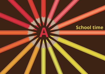 multicolored pencils laid out in a circle. Ilustração