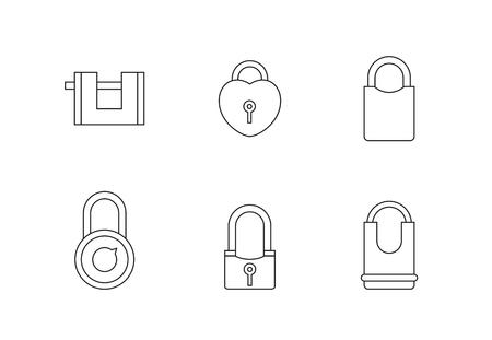 Padlock icon set line illustration. Ilustração