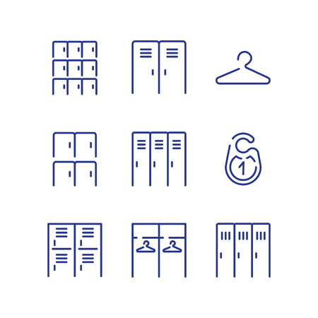 icons: Locker icon set. Simple checkroom icon set. Spot icons. Navigation room sign. Modern plain simple line design icons and pictograms set. Illustration