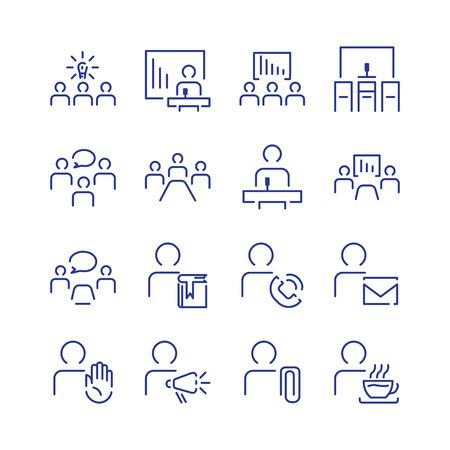 Simple conference icon set. illustration line. Ilustração
