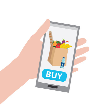 Hand holding smartphone with buy button and eco craft paper shopping bag full of healthy organic fresh and natural food. Order food online. Grocery delivery concept. Flat illustration