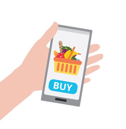 Hand holding smartphone with buy button and shopping basket full of healthy organic fresh and natural food. Order food online. Grocery delivery concept. Flat illustration
