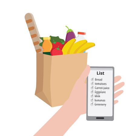 Man is holding a phone with a shopping list. Supermarket eco craft paper shopping bag full of healthy organic fresh and natural food. Grocery delivery concept. Flat illustration Ilustração