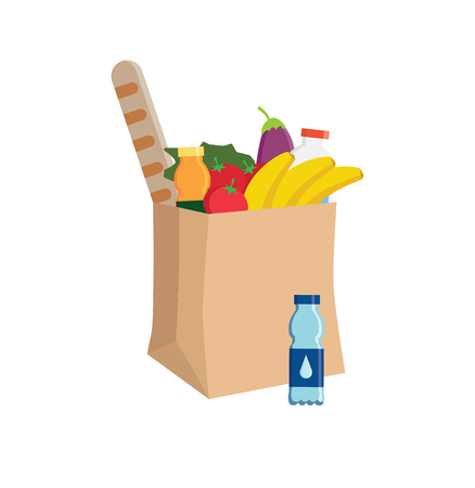 supermarket eco paper bag full of food. Grocery delivery concept. Flat illustration. Craft paper shopping bag with Healthy organic fresh and natural food.