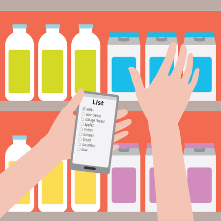 Flat design illustration. Supermarket. Man is holding a phone with a shopping list on a background of bottles, the other hand takes the product off the shelf