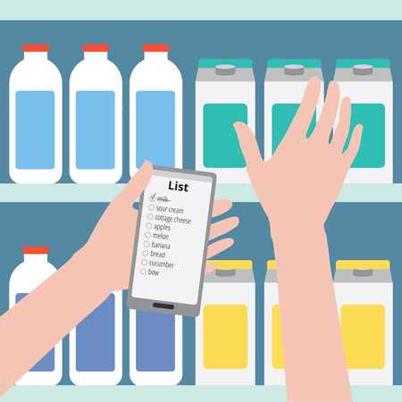 Supermarket. Flat design illustration. Man is holding a phone with a shopping list on a background of bottles, the other hand takes the product off the shelf Ilustração