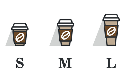 Coffee cup on the go. Coffee cups of different sizes. Vector icon set. Flat design color.