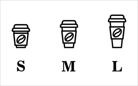 Koffiekopje onderweg. Koffiekopjes van verschillende maten. Vector icon set.