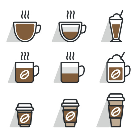 Coffee different cups. Vector icon set. Flat design color.