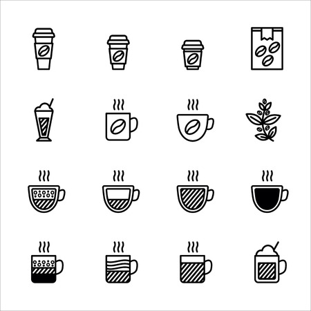 Coffee vector icon set