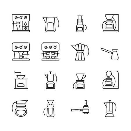 Icons of different coffeemakers in the style of minimalism. Bold line symbols of machines for coffee for your design. Ilustração