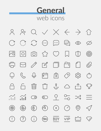 Outline web icons set of quality icon
