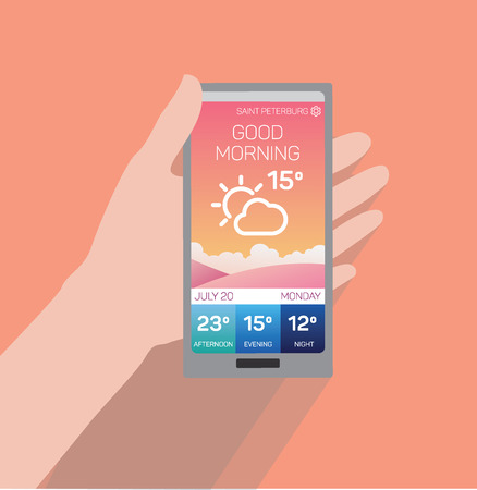 Hand holding smartphone with weather application on screen. Flat vector illustration